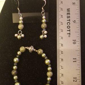Vintage green jasper bracelet and earrings set